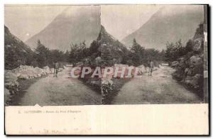 Stereoscopic Card - Cauterets - Road Bridge of Spain - Old Postcard