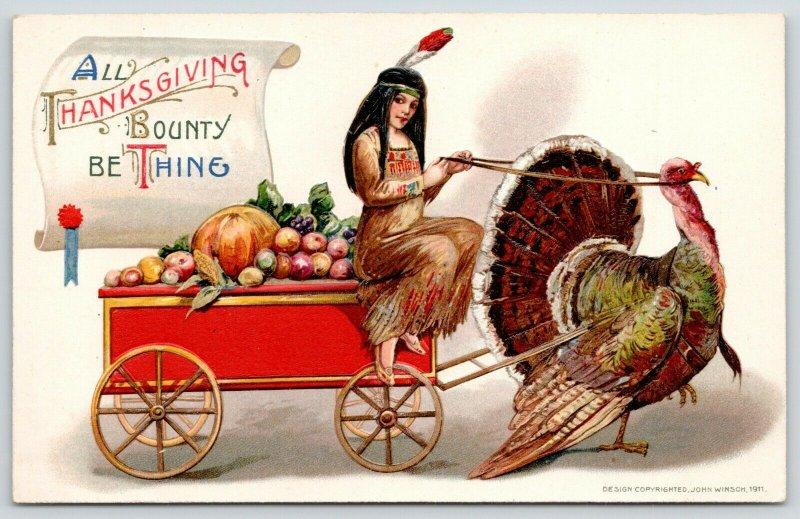 Schmucker Thanksgiving~Indian Maid~Turkey Drawn Harvest Cart~John Winsch~SHARP!