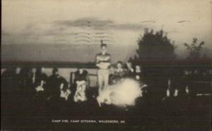 Waldoboro ME Camp Otyokwa Fire c1940s Postcard