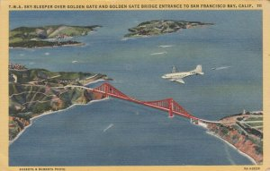 CALIFORNIA , 30-40s; T.W.A. Sky-Sleeper over Golden Gate, San Francisco Bay