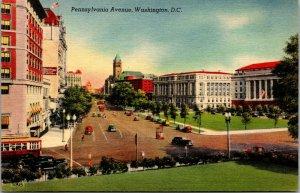 Vtg 1940s Pennsylvania Avenue Washington DC Unused Linen Postcard