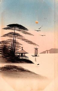 Japan Old Vintage Antique Post Card Water Art 1930