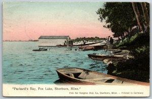 Sherburn Minnesota~Handcolored: Rowboats on Packard's Bay~Fox Lake 1908 Negren