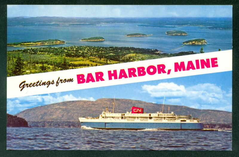 BAR HARBOR MAINE Cruise Ship BLUENOSE Nova Scotia Postcard