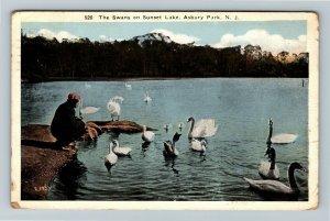Asbury Park NJ, Swans On Sunset Lake, Vintage New Jersey c1922 Postcard