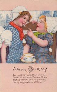 Children Sharing A Silver Teaspoon Birthday Cup Of Tea Old Postcard