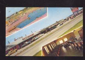 TULSA OKLAHOMA ROUTE 66 1950's CARS TOWN & COUNTRY RESTAURANT MOTEL POSTCARD