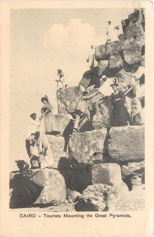1920 Alexandria Egypy Postmark On Postcard. Tourists Mounting The Great Pyramid