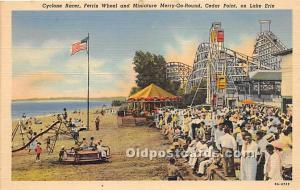 Lake Erie, Ohio, OH, USA Postcard Cyclone Racer, Ferris Wheel & Miniature Mer...