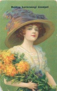 Postcard Greetings flowers bouquet woman hat