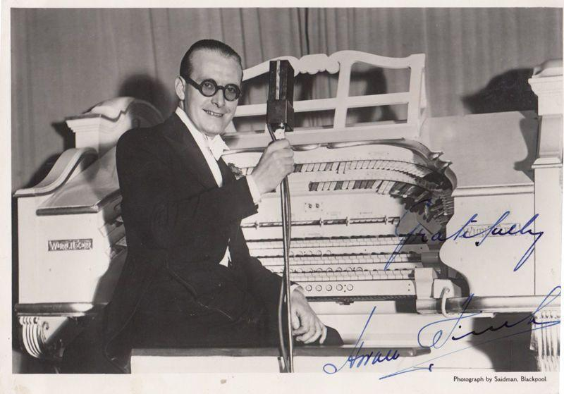 Horace Finch at Wurlitzer Organ Empress Ballroom Blackpool Old Hand Signed Photo