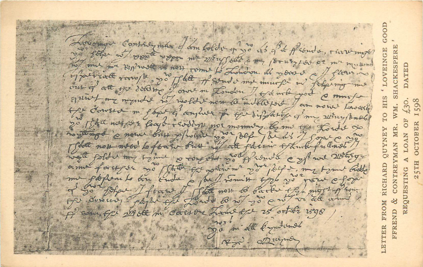 Letter from Richard Quyney to his loveinge good friend