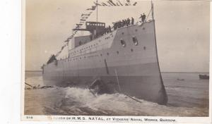 RP: Launch of H.M.S. NATAL at Vickers Naval Works , Barrow , UK , 00-10s
