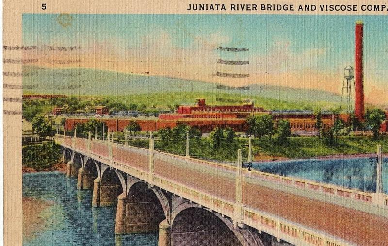 1950 Lewistown PA Juniata River Bridge & Viscose Company Silk Mills Old Postcard