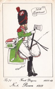French Dragoon Pioneer Soldier Napoleonic War Uniform PB Rare Postcard