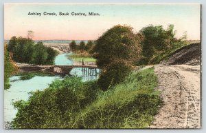 Sauk Center Minnesota~Dirt Road Down to Ashley Creek Bridge~Handcolored~1908 PC