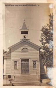 Madisonville Pennsylvania outside Christian Church real photo pc Y10726