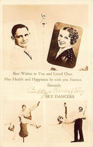 Betty & Benny Fox Autographs Famous Death Defying Sky Dancers Postcard