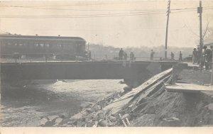 H61/ Akron Ohio RPPC Postcard c1913 Flood Disaster Trolley Bridge 163