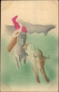 Cowboy Roping Steer Lasso c1910 Postcard - Airbrushed Embossed