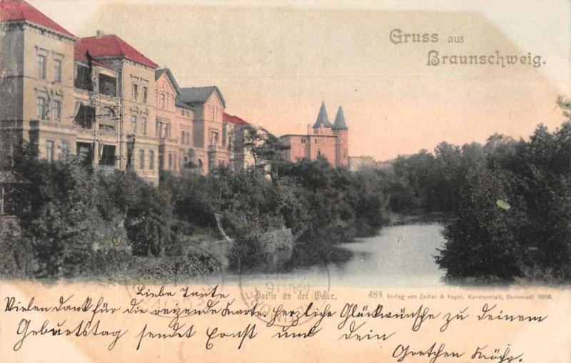 Braunschweig Germany Birds Eye View Antique Postcard J76361