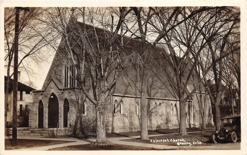 greeley Colorado~Episcopal Church~Lots of Bare Trees-Car in Front~1920s RPPC
