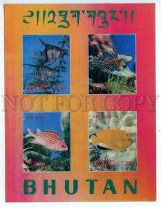 501426 BHUTAN 1969 year FISHES Souvenir sheet 3-D Lenticular