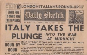The Daily Sketch 1940 Italy Declares War Original Military WW2 Newspaper