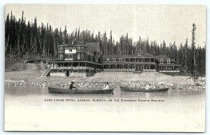 VTG Postcard Canada 1910 Lake Louise Hotel Alberta Pacific Railway Boat Water A4