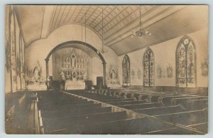 Dover-Boonton NJ Publ~Catholic Church Inside~Pews~Statues~Arch Windows~RPPC 1906