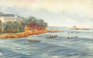 Ghana Gold Coast Dixcove near Sekondi boats signed Postcard