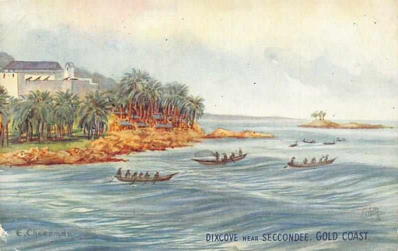 Ghana Gold Coast Dixcove near Sekondi boats signed Postcard