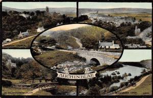 Auchinblae Scotland Multiview Antique Postcard J39545