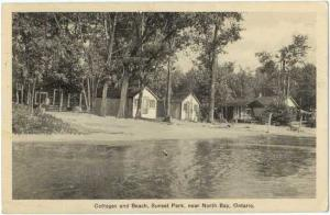 Cottages and Beach, Sunset Park near North Bay, Ontario, Canada, White Border
