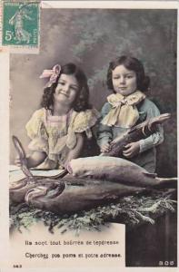 1er Avril April Fool's Day Young Girls With Fish 1911
