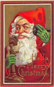 G35/ Santa Claus Christmas Postcard c1910 Green Gloves Telephone 4