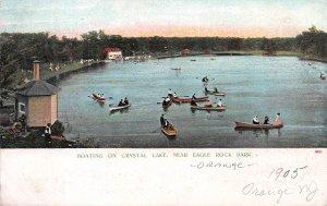 Boating On  Crystal Lake, West Orange, New Jersey, 1905 Postcard, Unused