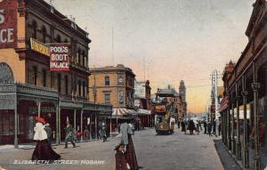 Elizabeth Street, Hobart, Australia, Early Postcard, Used