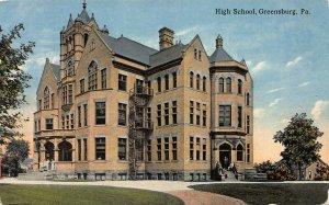 High School, Greensburg, Pennsylvania, Early Postcard, Unused