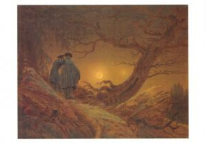 Art Postcard Two Men Contemplating the Moon (1819) Caspar David Friedrich MU1959