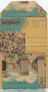 DETROIT , Michigan, 30-40s ; Folder Postcard multi-views