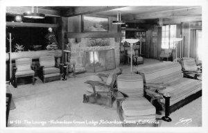 RPPC Lounge Interior RICHARDSON GROVE LODGE Humboldt Co c1930s Vintage Postcard