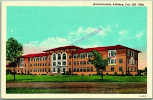 Fort Sill, Oklahoma Postcard Administration Building Military Linen 1940s WWII