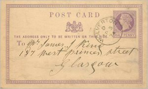 Entier Postal Stationery Postal Britain Great Britain Wolverton to Glasgow in...