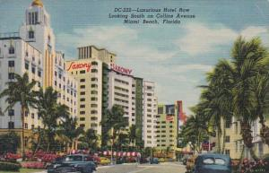 Florida Miami Beach Hotel Row Looking South On Collins Avenue Curteich