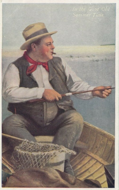 Man smoking cigar fishing, 1900-10s; In the Good Old Summer Time
