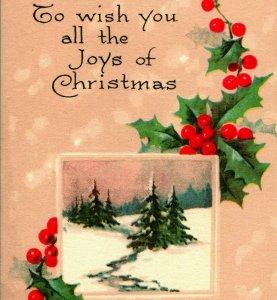 Joys of Christmas Holly Pink of Perfection Unused UNP 1900s Vtg Postcard
