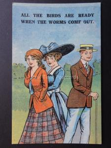 Comic Postcard Romance Theme THE BIRDS ARE READY WHEN THE WORMS COME OUT No.937