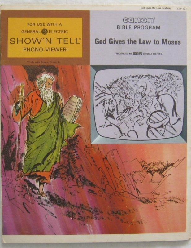 Vintage God Gives The Law To Moses Canon Bible Program For GE Show N Tell 1966