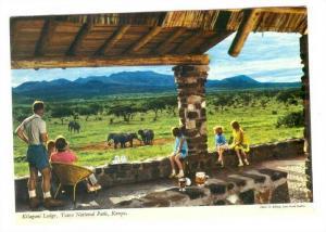 Kilaguni Lodge, Tsavo National Park, Family Looking At The Elephants, Kenya, ...